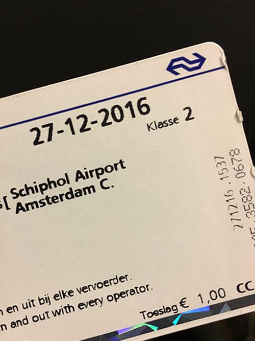 スキポール空港行きのチケット