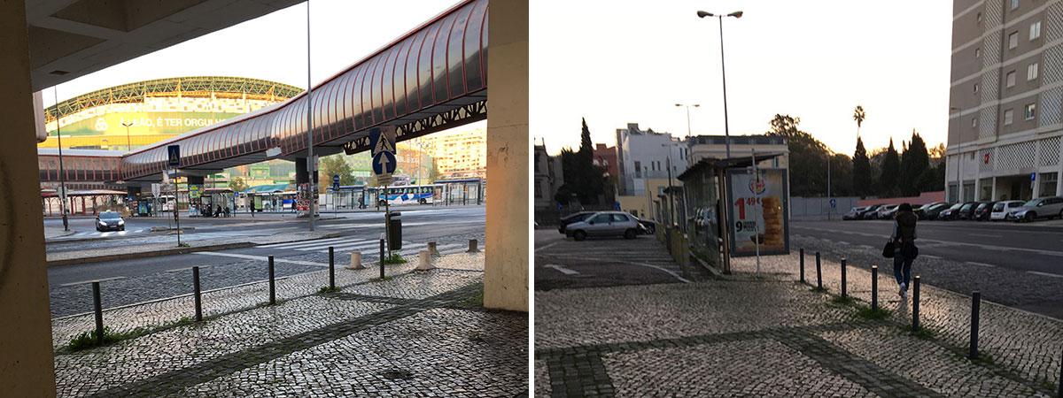 高架下から駅を見る(左)、バス停(右)