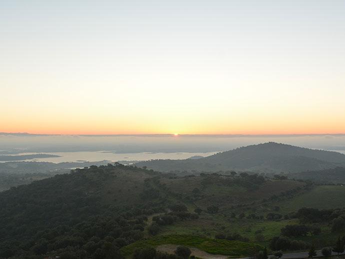 朝陽を眺める