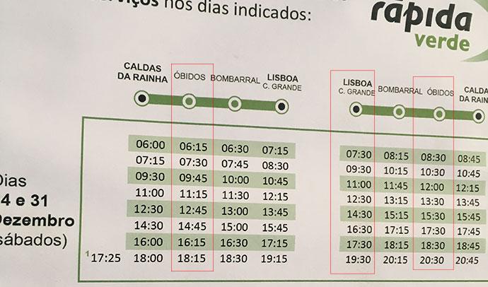 オビドス行きのバスの時間