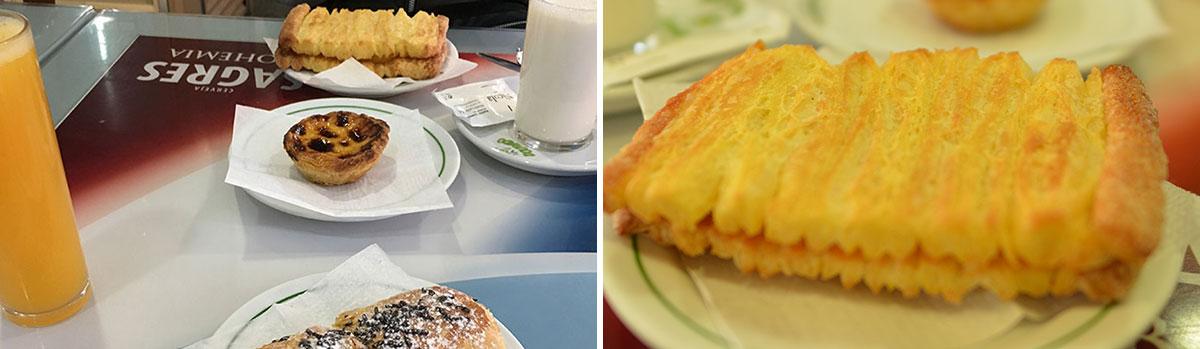 カフェでエッグタルトとサクサクパイ。