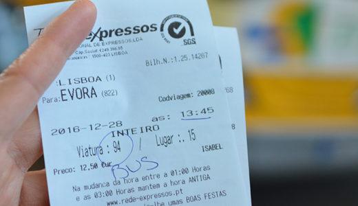 リスボンからエヴォラへバスでの行き方のまとめ。