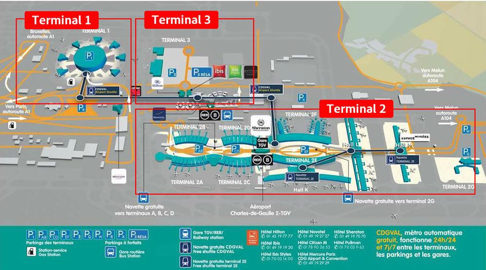 シャルル・ド・ゴール空港ターミナルマップ