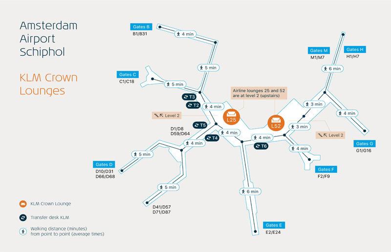 アムステルダムスキポール空港 KLMクラウンラウンジ地図