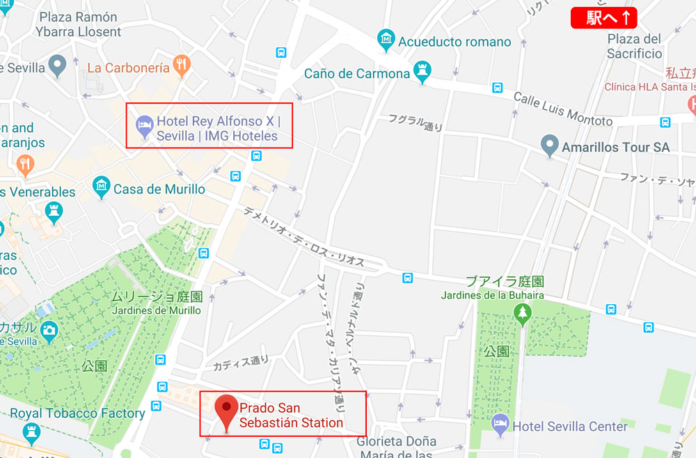 Sevilliaのバスターミナル地図