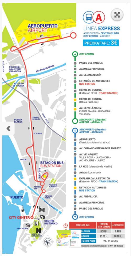 マラガの空港バスマップ
