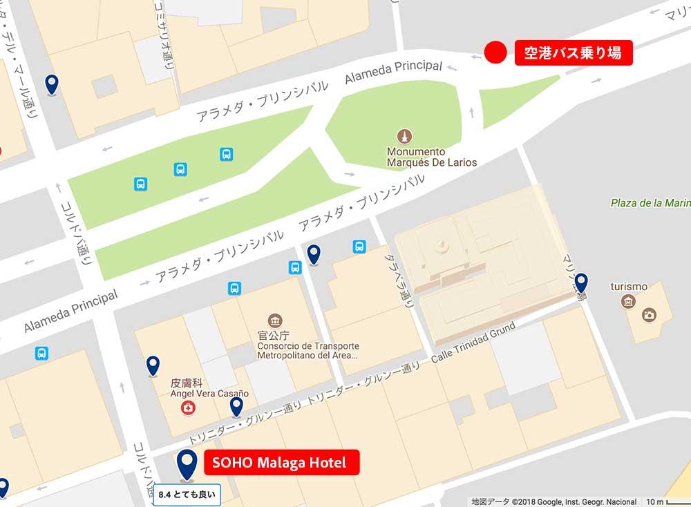 マラガ市内空港バス乗り場地図