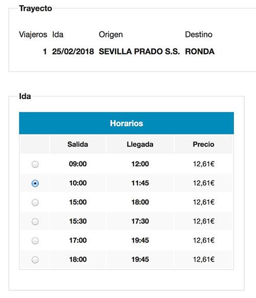 セビーリャからロンダ行きバスチケットの購入