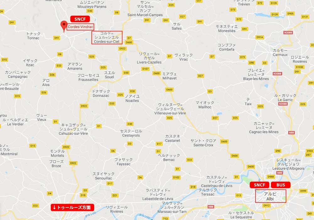 コルド・シュル・シエル周辺の地図