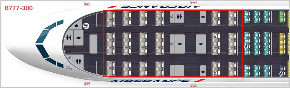 エールフランス航空B777-300 ビジネスクラスシートマップ