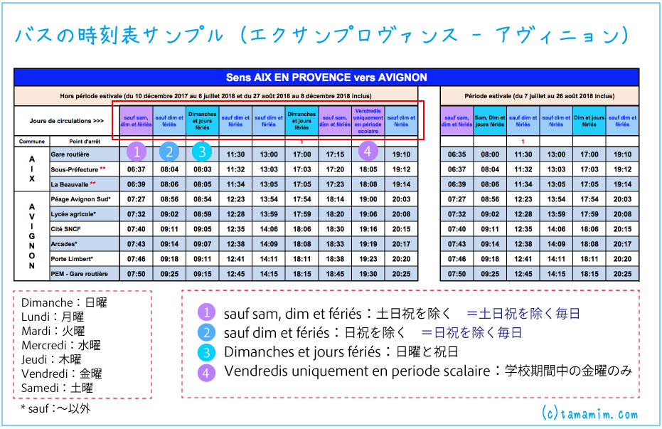 フランスのバスの時刻表の見方