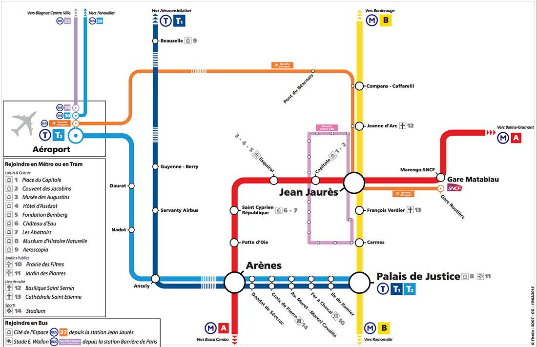 ブラニャック空港から市内への路線図
