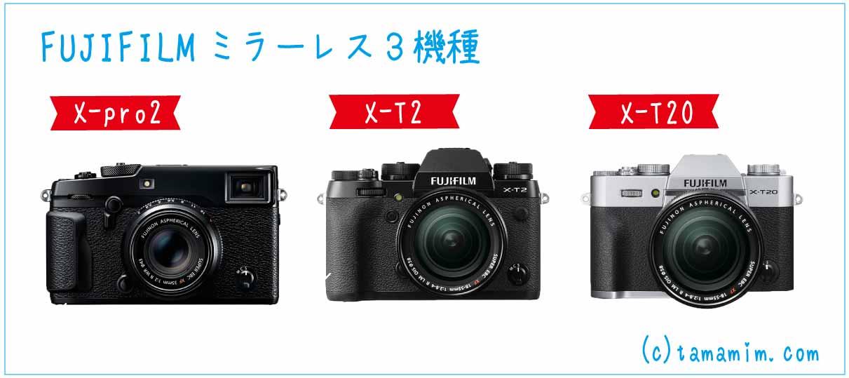 FUJIFILMを代表するミラーレスカメラ3機種