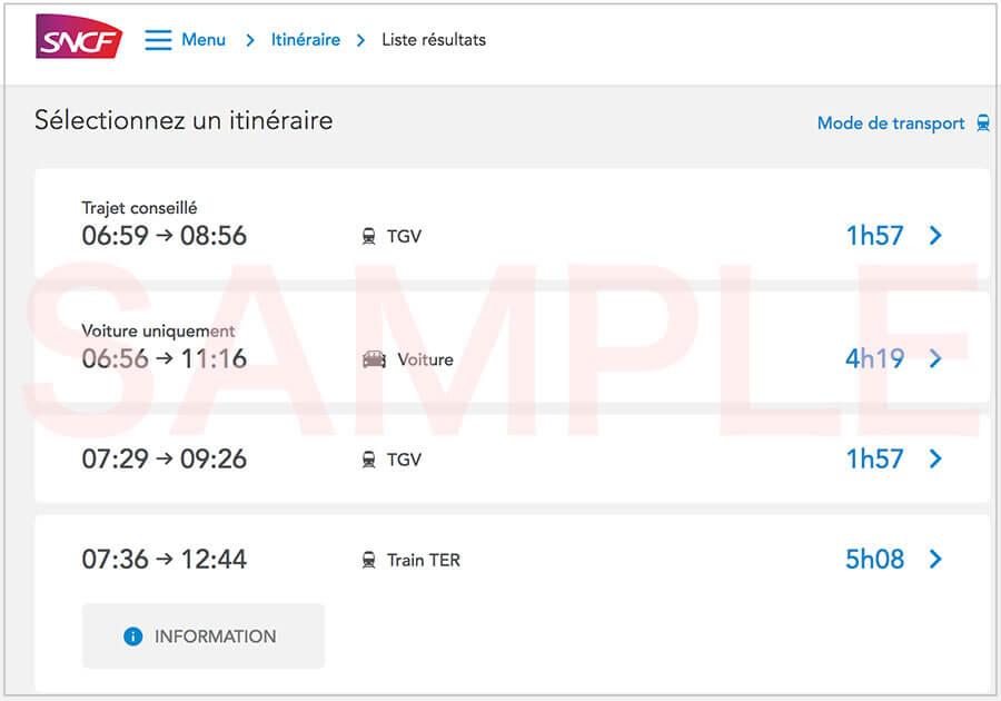 SNCFでリヨン行きを確認