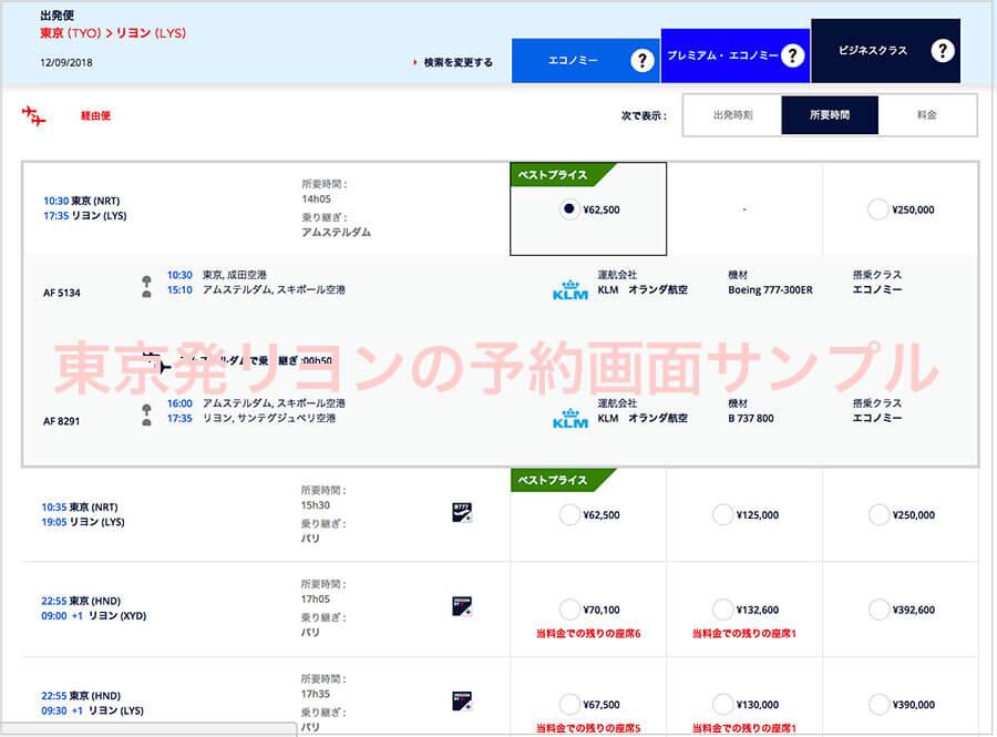 東京発リヨンの予約画面サンプル