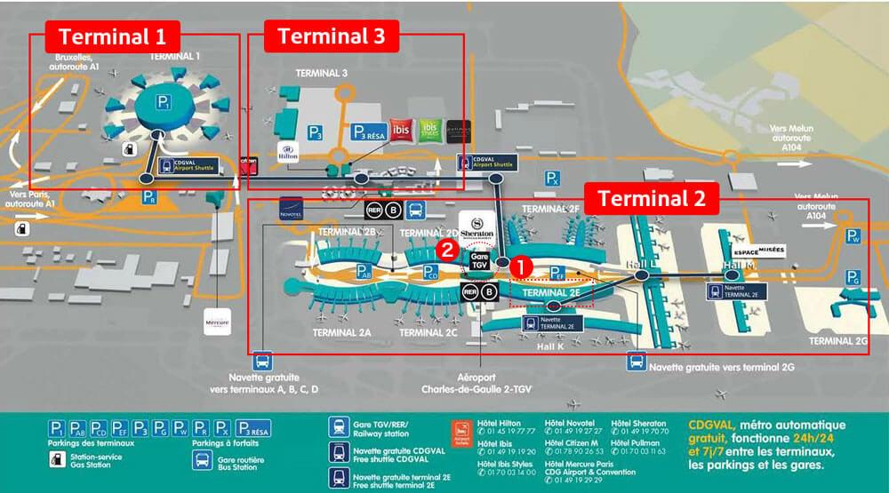 シャルル・ド・ゴール空港にあるTGV駅地図