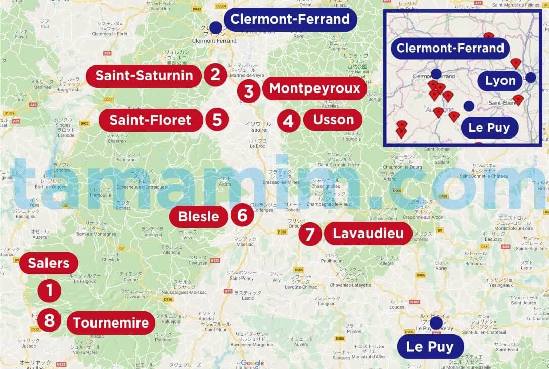 フランスの美しい村の全マップオーヴェルニュ地方