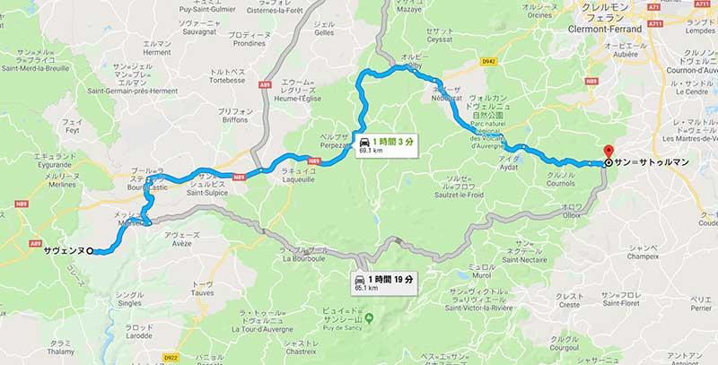 オーヴェルニュ地方の美しい村サン・サテュルナンへの地図