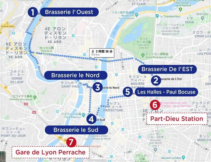 リヨンのポール・ボギューズブラッスリーと市場の地図