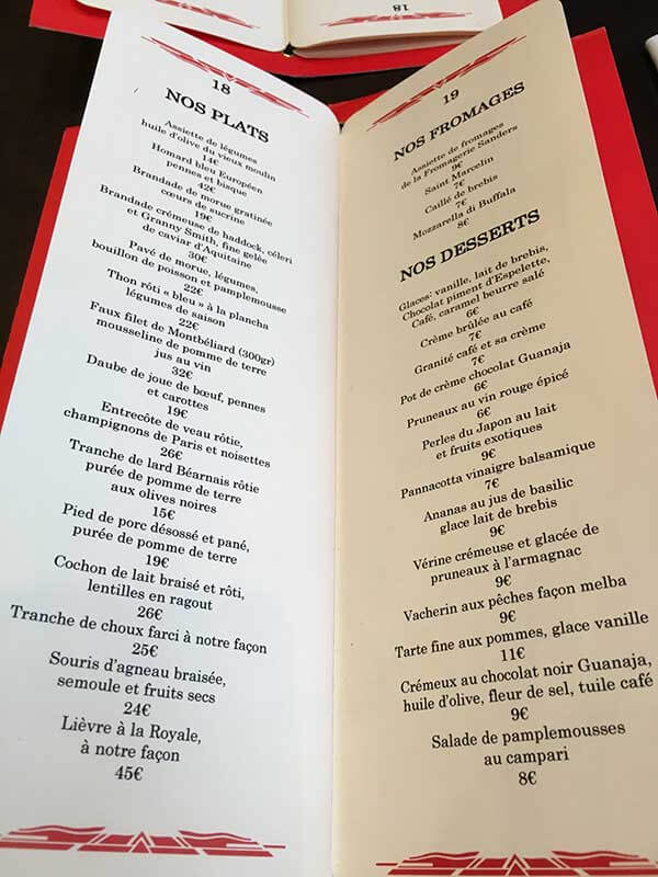 Le Comptoir du Ralaisのメニュー