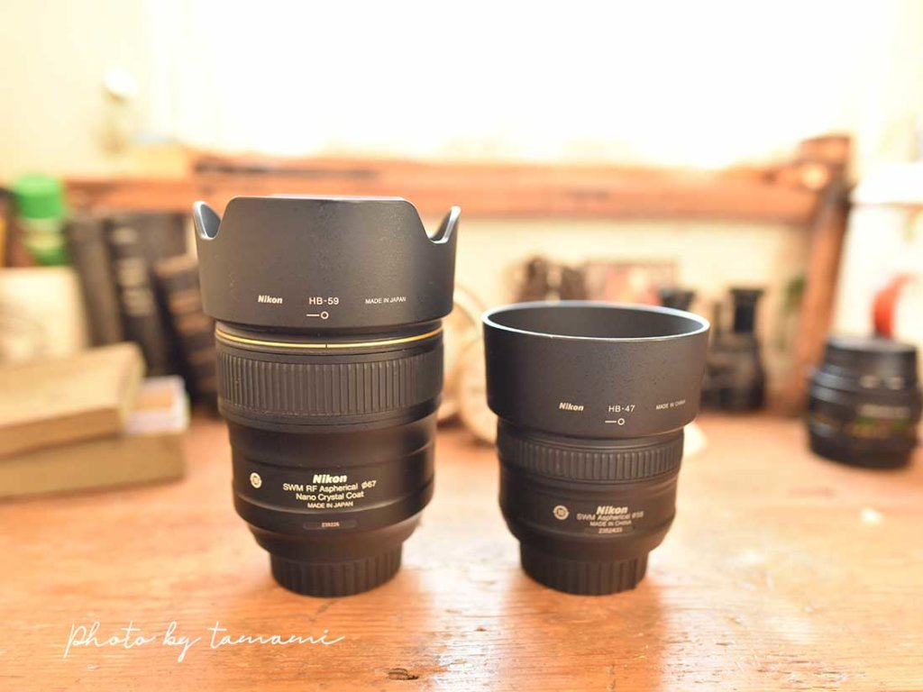 NIKON 35mmと50mmレンズ比較