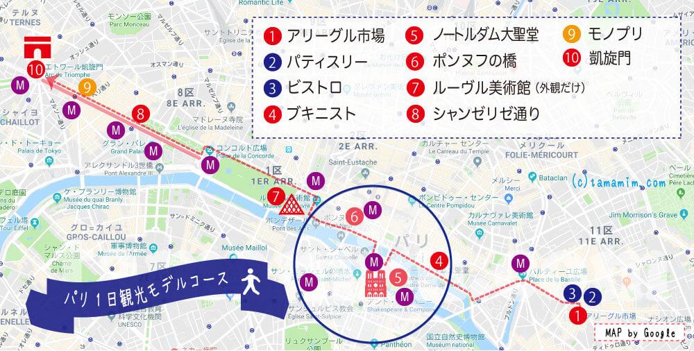パリの観光モデルコース