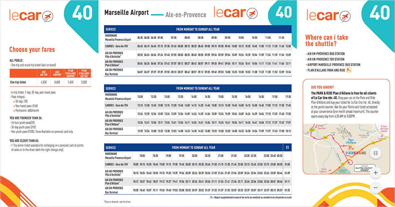 エクサンプロヴァンスからマルセイユ・プロヴァンス空港への40番バス