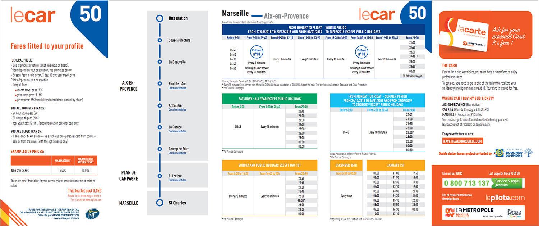 マルセイユからエクサンプロヴァンスバス時刻表