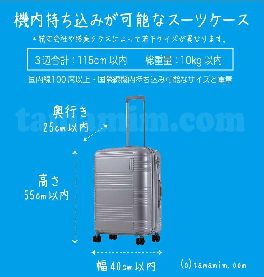 機内持ち込みが可能なスーツケースのサイズ
