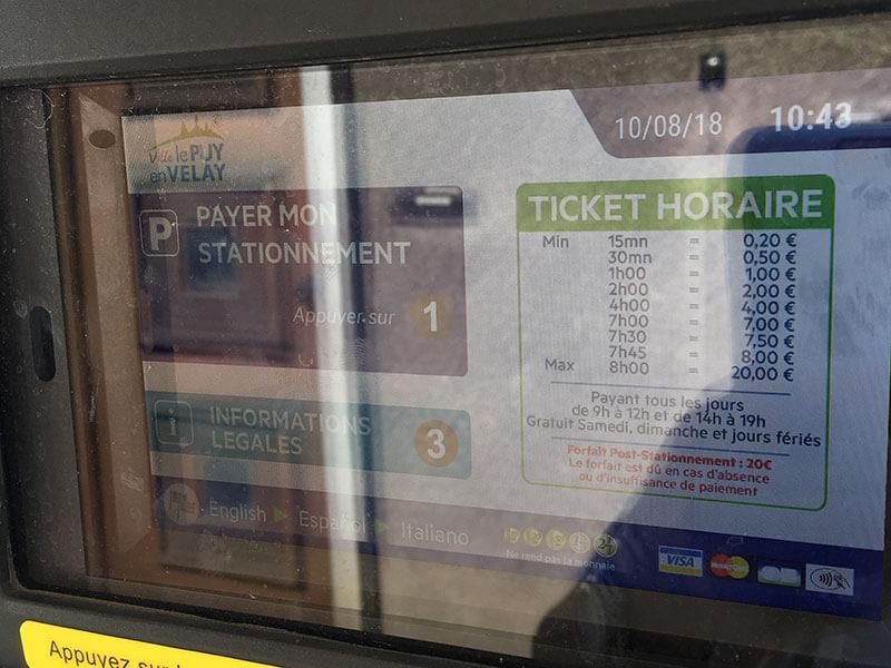 フランスのパーキングの券売機