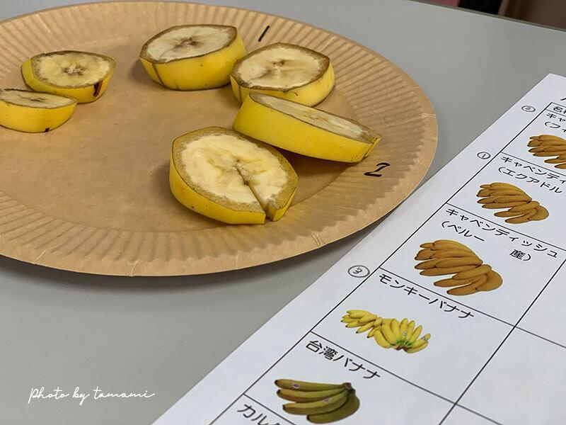 野菜ソムリエ説明会 バナナの食べ比べ