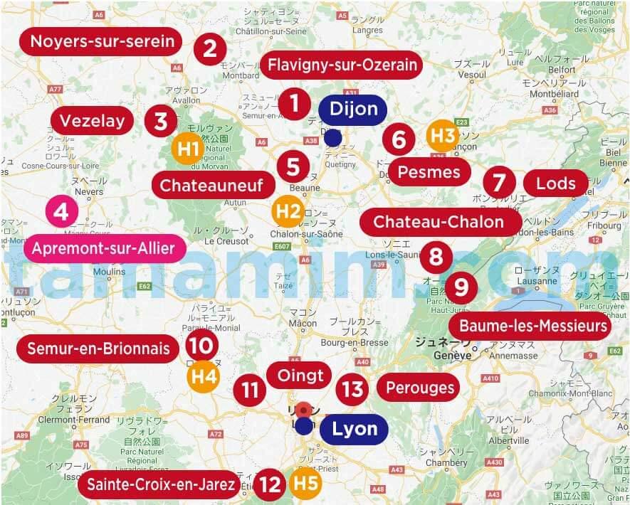 フランスの美しい村ブルゴーニュ地方の地図